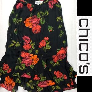 Chico's Sz 1(8-10)Silk Women's Skirt Floral Lined